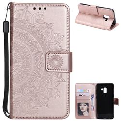 Intricate Embossing Datura Leather Wallet Case for Samsung Galaxy A8 2018 A530 - Rose Gold