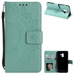 Intricate Embossing Datura Leather Wallet Case for Samsung Galaxy A8 2018 A530 - Mint Green