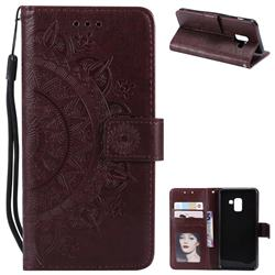 Intricate Embossing Datura Leather Wallet Case for Samsung Galaxy A8 2018 A530 - Brown