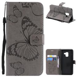 Embossing 3D Butterfly Leather Wallet Case for Samsung Galaxy A8 2018 A530 - Gray