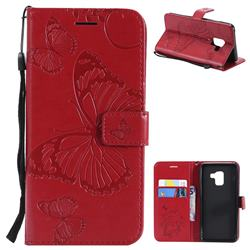 Embossing 3D Butterfly Leather Wallet Case for Samsung Galaxy A8 2018 A530 - Red