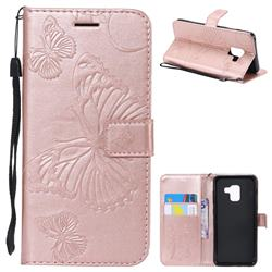 Embossing 3D Butterfly Leather Wallet Case for Samsung Galaxy A8 2018 A530 - Rose Gold