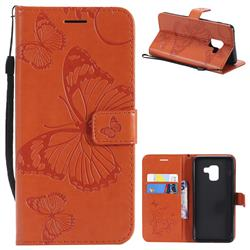 Embossing 3D Butterfly Leather Wallet Case for Samsung Galaxy A8 2018 A530 - Orange
