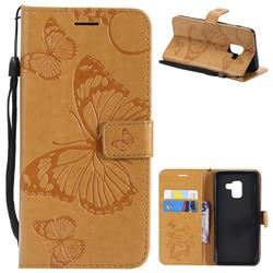 Embossing 3D Butterfly Leather Wallet Case for Samsung Galaxy A8 2018 A530 - Yellow