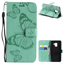 Embossing 3D Butterfly Leather Wallet Case for Samsung Galaxy A8 2018 A530 - Green