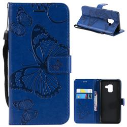 Embossing 3D Butterfly Leather Wallet Case for Samsung Galaxy A8 2018 A530 - Blue