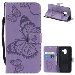 Embossing 3D Butterfly Leather Wallet Case for Samsung Galaxy A8 2018 A530 - Purple