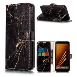 Black Gold Marble PU Leather Wallet Case for Samsung Galaxy A8 2018 A530