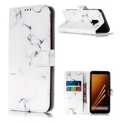 Soft White Marble PU Leather Wallet Case for Samsung Galaxy A8 2018 A530