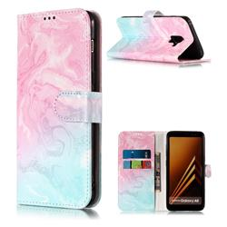 Pink Green Marble PU Leather Wallet Case for Samsung Galaxy A8 2018 A530