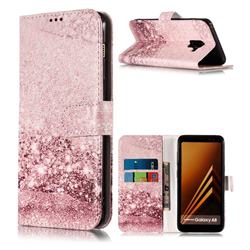 Glittering Rose Gold PU Leather Wallet Case for Samsung Galaxy A8 2018 A530