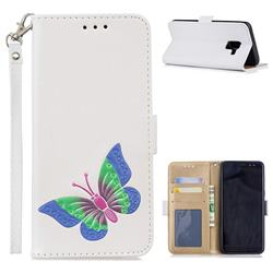 Imprint Embossing Butterfly Leather Wallet Case for Samsung Galaxy A8 2018 A530 - White