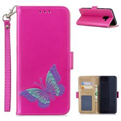 Imprint Embossing Butterfly Leather Wallet Case for Samsung Galaxy A8 2018 A530 - Rose Red