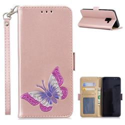 Imprint Embossing Butterfly Leather Wallet Case for Samsung Galaxy A8 2018 A530 - Rose Gold