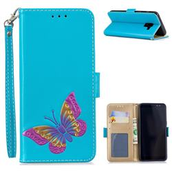 Imprint Embossing Butterfly Leather Wallet Case for Samsung Galaxy A8 2018 A530 - Sky Blue