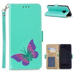 Imprint Embossing Butterfly Leather Wallet Case for Samsung Galaxy A8 2018 A530 - Mint Green