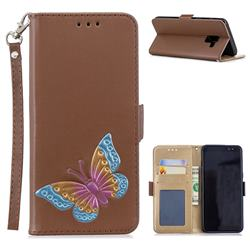 Imprint Embossing Butterfly Leather Wallet Case for Samsung Galaxy A8 2018 A530 - Brown