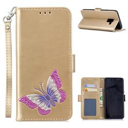 Imprint Embossing Butterfly Leather Wallet Case for Samsung Galaxy A8 2018 A530 - Golden