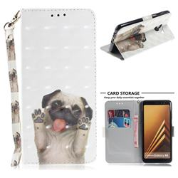 Pug Dog 3D Painted Leather Wallet Phone Case for Samsung Galaxy A8 2018 A530