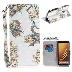 Dragon Flower 3D Painted Leather Wallet Phone Case for Samsung Galaxy A8 2018 A530