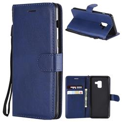 Retro Greek Classic Smooth PU Leather Wallet Phone Case for Samsung Galaxy A8 2018 A530 - Blue