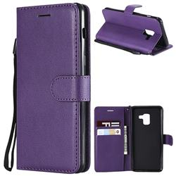 Retro Greek Classic Smooth PU Leather Wallet Phone Case for Samsung Galaxy A8 2018 A530 - Purple
