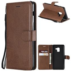 Retro Greek Classic Smooth PU Leather Wallet Phone Case for Samsung Galaxy A8 2018 A530 - Brown