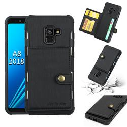 Brush Multi-function Leather Phone Case for Samsung Galaxy A8 2018 A530 - Black