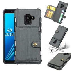 Brush Multi-function Leather Phone Case for Samsung Galaxy A8 2018 A530 - Gray