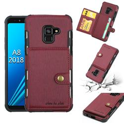 Brush Multi-function Leather Phone Case for Samsung Galaxy A8 2018 A530 - Wine Red