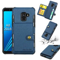 Brush Multi-function Leather Phone Case for Samsung Galaxy A8 2018 A530 - Blue