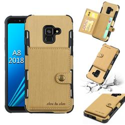 Brush Multi-function Leather Phone Case for Samsung Galaxy A8 2018 A530 - Golden