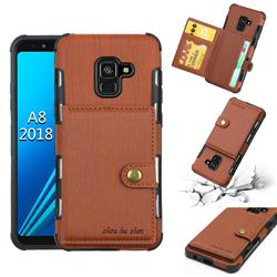 Brush Multi-function Leather Phone Case for Samsung Galaxy A8 2018 A530 - Brown
