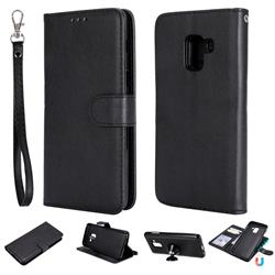 Retro Greek Detachable Magnetic PU Leather Wallet Phone Case for Samsung Galaxy A8 2018 A530 - Black