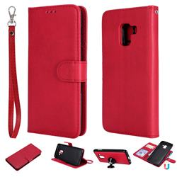 Retro Greek Detachable Magnetic PU Leather Wallet Phone Case for Samsung Galaxy A8 2018 A530 - Red