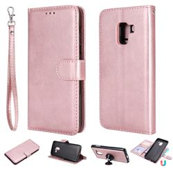 Retro Greek Detachable Magnetic PU Leather Wallet Phone Case for Samsung Galaxy A8 2018 A530 - Rose Gold