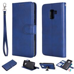 Retro Greek Detachable Magnetic PU Leather Wallet Phone Case for Samsung Galaxy A8 2018 A530 - Blue