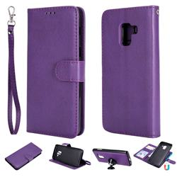 Retro Greek Detachable Magnetic PU Leather Wallet Phone Case for Samsung Galaxy A8 2018 A530 - Purple