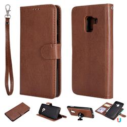 Retro Greek Detachable Magnetic PU Leather Wallet Phone Case for Samsung Galaxy A8 2018 A530 - Brown