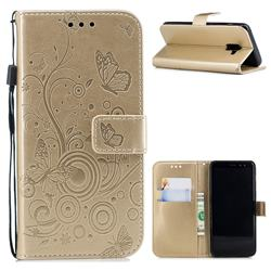 Intricate Embossing Butterfly Circle Leather Wallet Case for Samsung Galaxy A8 2018 A530 - Champagne