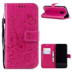 Intricate Embossing Butterfly Circle Leather Wallet Case for Samsung Galaxy A8 2018 A530 - Red
