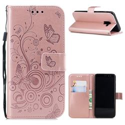 Intricate Embossing Butterfly Circle Leather Wallet Case for Samsung Galaxy A8 2018 A530 - Rose Gold