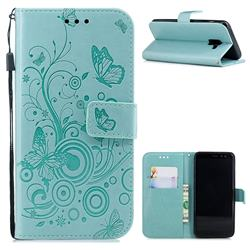 Intricate Embossing Butterfly Circle Leather Wallet Case for Samsung Galaxy A8 2018 A530 - Cyan