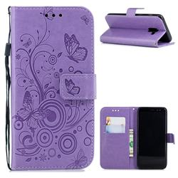 Intricate Embossing Butterfly Circle Leather Wallet Case for Samsung Galaxy A8 2018 A530 - Purple