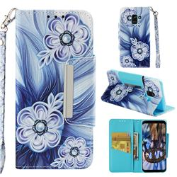Button Flower Big Metal Buckle PU Leather Wallet Phone Case for Samsung Galaxy A8 2018 A530