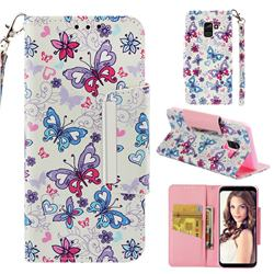 Colored Butterfly Big Metal Buckle PU Leather Wallet Phone Case for Samsung Galaxy A8 2018 A530