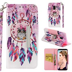 Owl Wind Chimes Big Metal Buckle PU Leather Wallet Phone Case for Samsung Galaxy A8 2018 A530