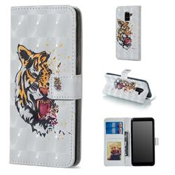 Toothed Tiger 3D Painted Leather Phone Wallet Case for Samsung Galaxy A8 2018 A530
