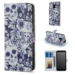 Skull Flower 3D Painted Leather Phone Wallet Case for Samsung Galaxy A8 2018 A530