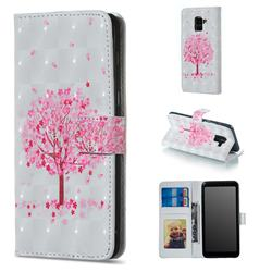 Sakura Flower Tree 3D Painted Leather Phone Wallet Case for Samsung Galaxy A8 2018 A530